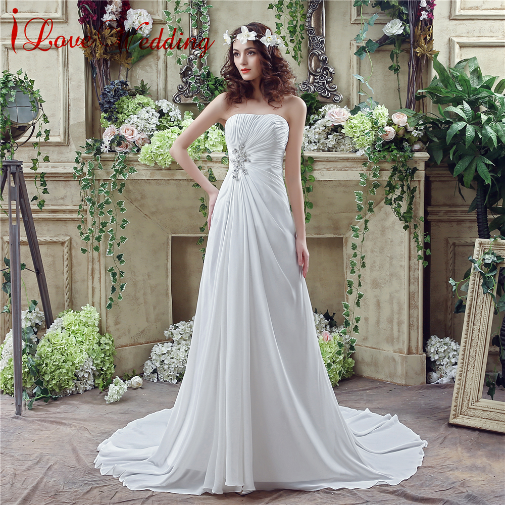 Vintage Φτηνές Γάμος Φόρεμα Στράπλες Chiffon - Γαμήλια φορέματα - Φωτογραφία 1