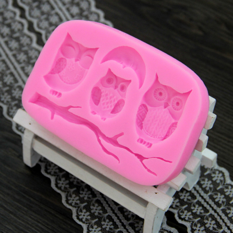 Luyou 1pcs DIY Three Owls Fondant Mold 3D Fondant Cake
