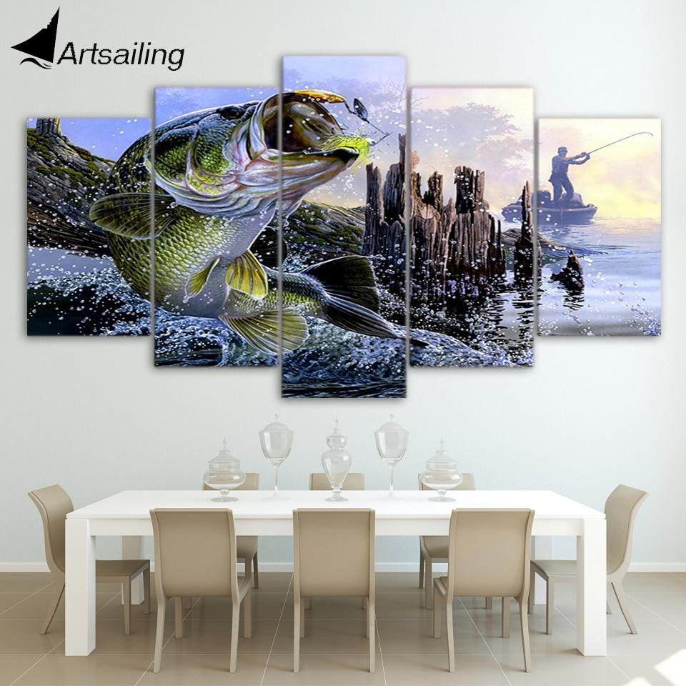 Leinwand Gemälde Gedruckt 5 Stücke forellen bass fishing Wandkunst ...