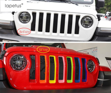 Lapetus Accessories For Jeep Wrangler JL 2018 2019 Mesh Front Grille Inserts Racing Grill Ring Frame Molding Cover Trim