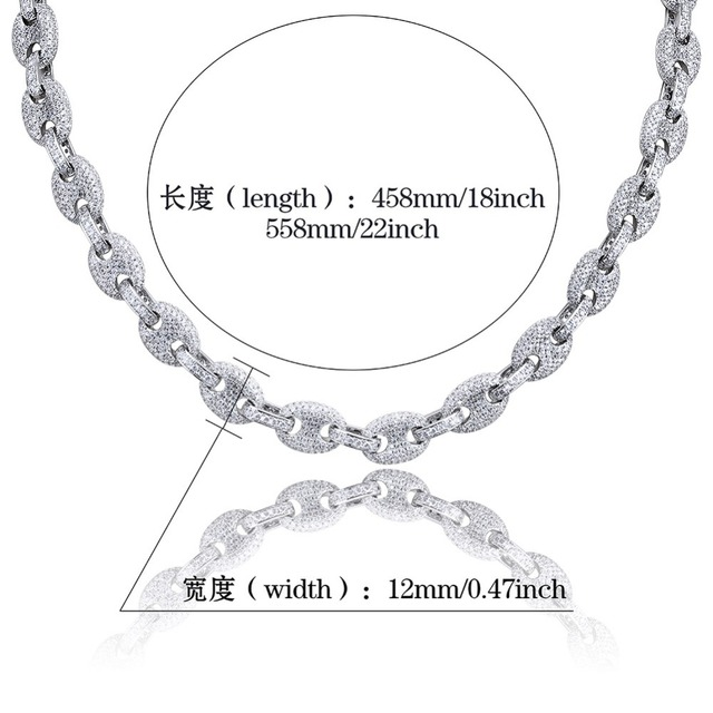 TOPGRILLZ 12MM Solid Gold Silver Color Cubic Zircon Link Necklace Bling Men's Hip hop Jewelry Copper Iced link Chain For Gift