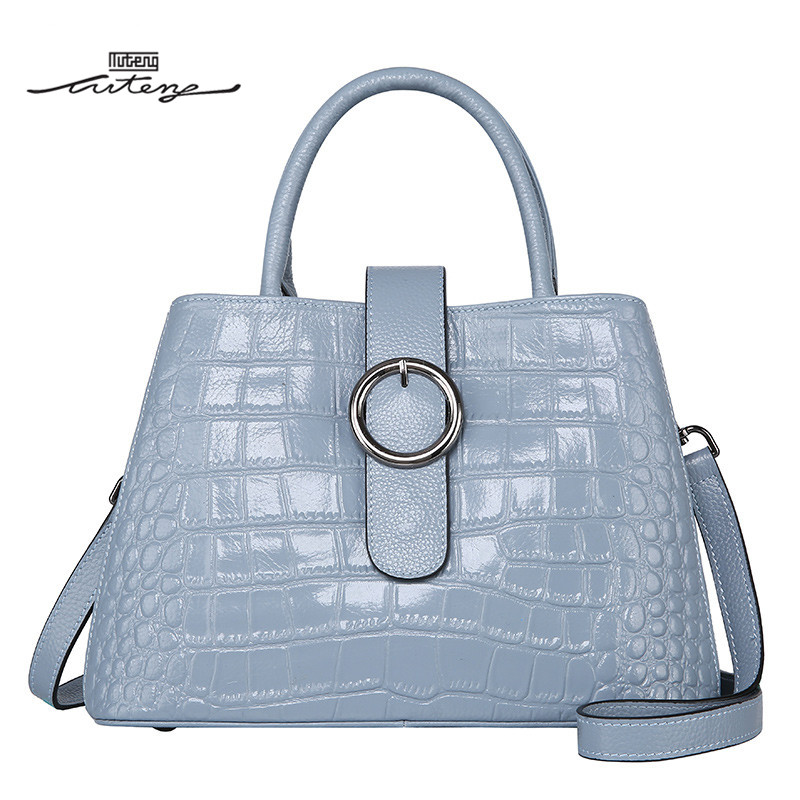 TU-TENG Shell Women Handbag Genuine Bags Women Embossed Alligator Elegant Tote Crossbody Bags Office Ladies Tote G75480 tu teng women elegant doctor bag 2 way tote luxury leather pure color 2018 fashion zipper elegant design lady black khaiki red