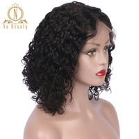 Lace Front Human Hair Wigs Remy Hair Short Bob Deep Curly Wigs For American Women Brazilian