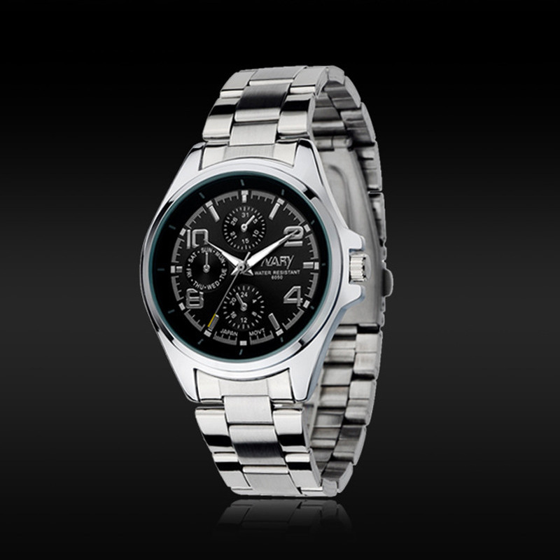 f649745abcb עסקי מותג גברים נירוסטה זכר מקרית שמלות יוקרה אופנה קלאסית שעון קוורץ  אנלוגי שעון יד Relogio Masculino
