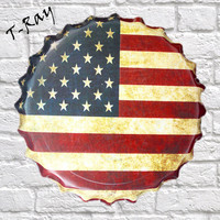 40x40cm USA Flag Bottle Cap Metal Painting Vintage Souvenir Home Gift Party Store Wall Decor RD 39