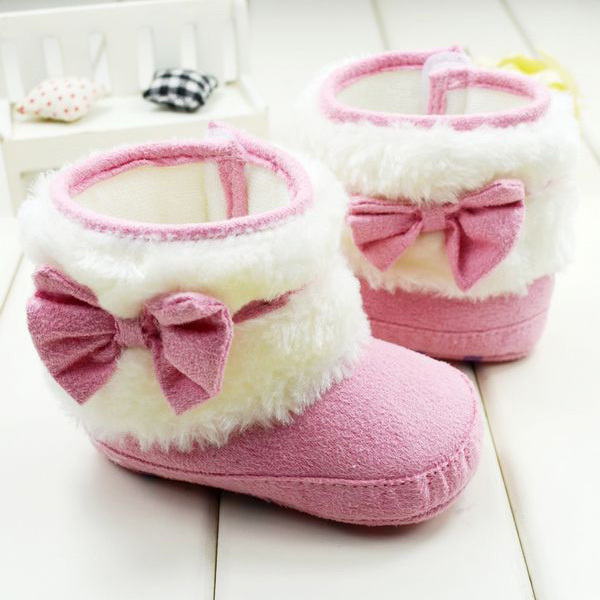 born Baby Kid Girl Winter Snow Boots Bow knot Fleece Warm Baby Boots