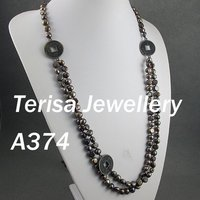 New Free Shipping A374# AA 7 8mm 32 34inch Natural Brown Color Fresh Water Pearls Necklace .Fashion Pearls Jewellery .