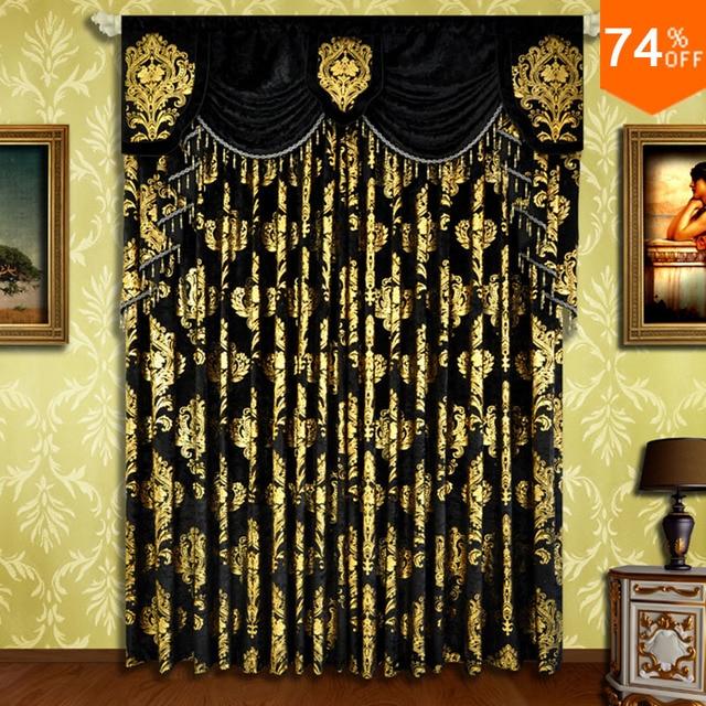 Black Small Fur Surface Embroid Black Golden Flowers Curtains Rod Stick  Curtain Classic Design Elegant Bedroom