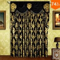 christmas Black curtain Embroidery noel Golden flowers velvet bear eyelet curtains bedroom Curtain christmas Rod black curtains