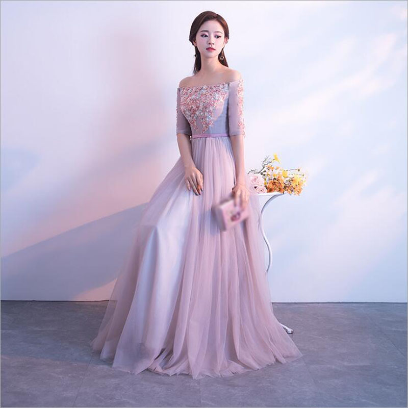 bridesmaid     dresses   Elegant Beading Embroidery long wedding party   dress   Plus sizes Boat neck Half Sleeves Tulle Robe Soiree