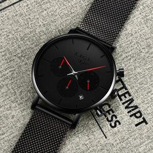 Image 5 - Relojes LIGE maille acier hommes montres de mode haut marque de luxe Sport Ultra mince montre à Quartz hommes décontracté Date étanche montre mâle