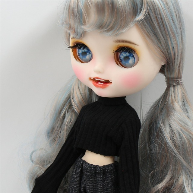 ICY Neo Blythe Doll Blue Grey Golden Hair Jointed Body 30cm