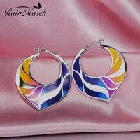 RainMarch Enamel Flower Silver Earrings For Women Engagement 100 925 Sterling Silver Earring Handmade Enamel Party