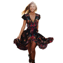 Women Summer Sexy Floral Print Split Front Tassel V Neck Chiffon Long Dress beach vacation party wedding