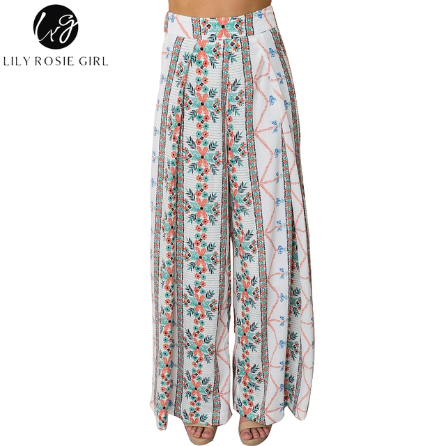 be7bca9627 Lily Rosie Girl Bohemian Women Wide Leg Pants Summer Beach Casual High Waist  Long Trousers Floral Print 2018 Female Pant Trouser