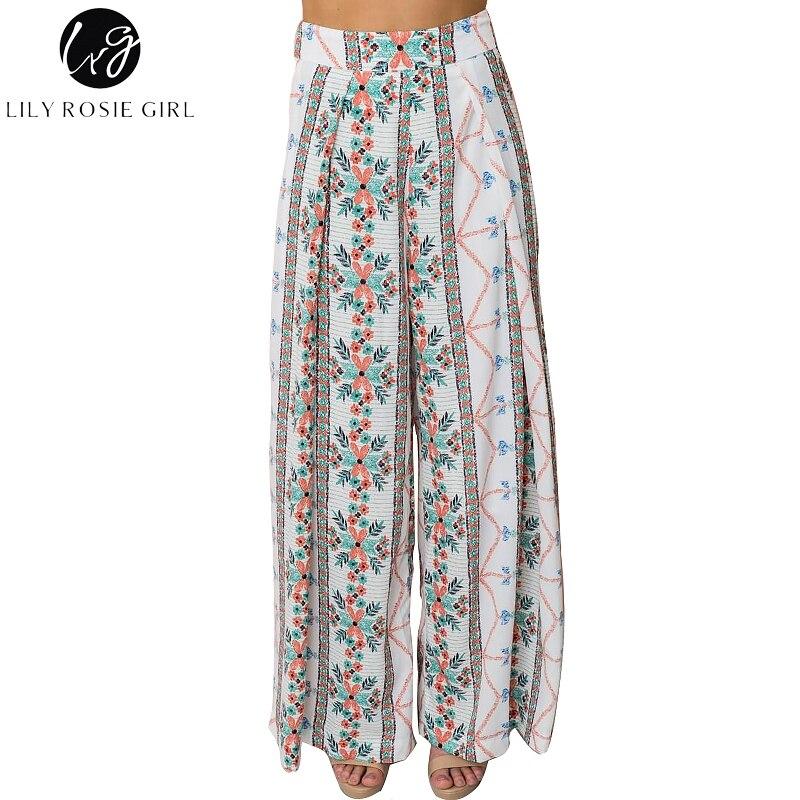 Lily Rosie Girl Bohemian Women   Wide     Leg     Pants   Summer Beach Casual High Waist Long Trousers Floral Print 2018 Female   Pant   Trouser