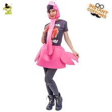 Brand New Rose Red Flamingo Lady Костюмы Карнавальная вечеринка Funny Flamingo Girl Ролевые игры Необычные комбинезоны Взрослый Smart Bird Cosplay
