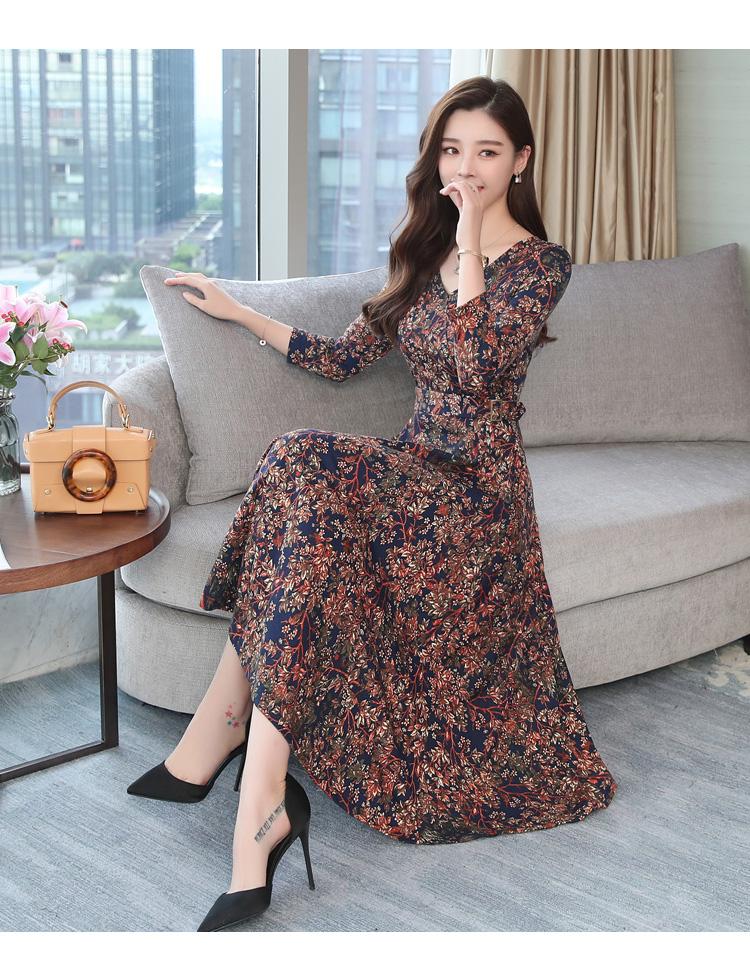 Autumn Winter New 3XL Plus Size Vintage Midi Dresses 2018 Women Elegant Bodycon Floral Dress Party Long Sleeve Runway Vestidos 41
