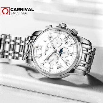 Carnival T25 Tritium Luminous Mechanical Watch Men Watches 2019 Luxury Brand Calendar Automatic Wristwatch Man Relojes Hombre