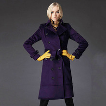 Purple  Sexy winter coats High-grade womens winter jackets and coats wool manteau femme women's cashmere coat long cashmere coat