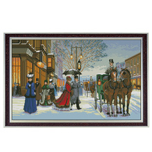 Twilight in foreign country,counted printed on fabric DMC 11CT Cross Stitch kits,14CT embroidery needlework Sets,snow Home Decor