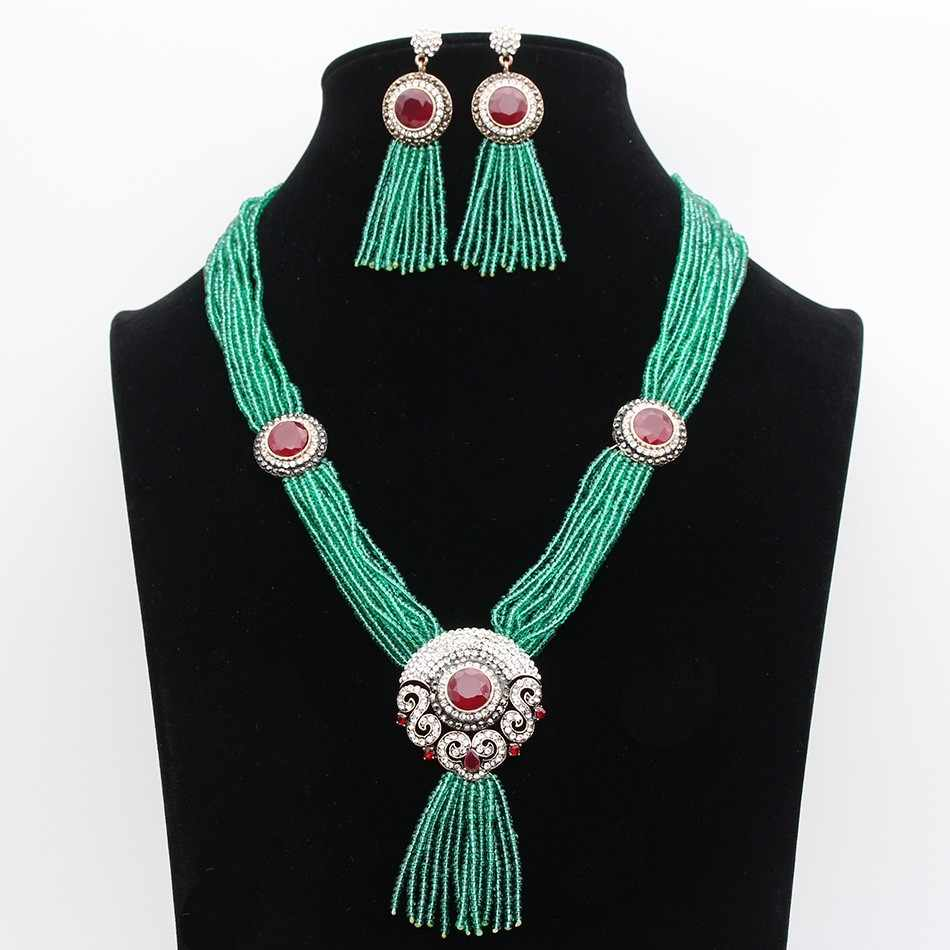 Large Vintage Beaded Tassel Morocco Jewelry Sets Antique Gold Plating Round India Ethnic Necklace & Earrings Women Jewelry Gift