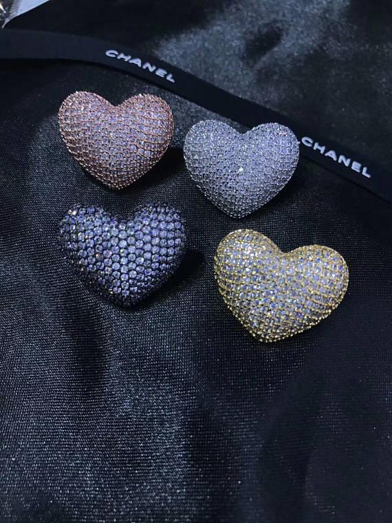 6pcs 20mm CZ Micro Pave Diamond Heart Pendant, Pave Black Diamond CZ Pendant, Ruby Green Sapphire blue Heart Ring earring beads black diamond cat hair ring