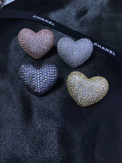 6pcs 20mm Cz Micro Pave Diamond Heart Pendant Black Ruby