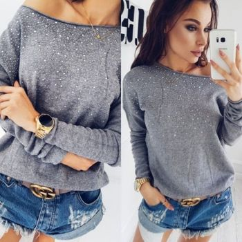 Women Loose Long Sleeve Knitted Sweater 1