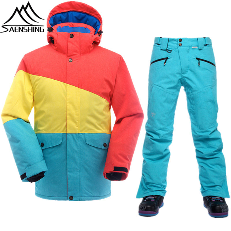 SAENSHING Mountain Skiing Suit Men Waterproof Ski Jacket + Snowboard Pants Breathable Thicken Ski Clothing Snowboarding Suits saenshing ski suit women winter suit waterproof breathable women s snowboard jacket skiing pants for mountain skiing snow sets