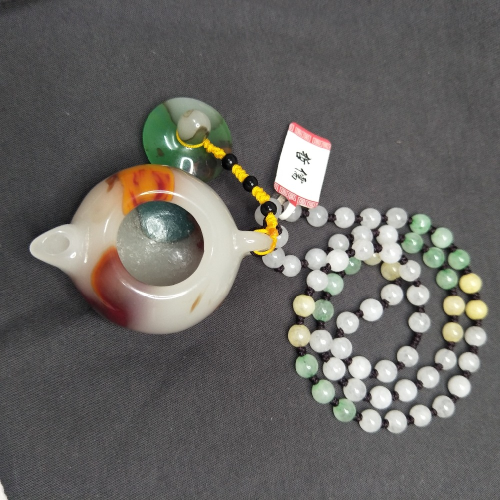 Send the national inspection certificate Natural colorful jade carving teapot pendant Three color necklace Can do hand play piec
