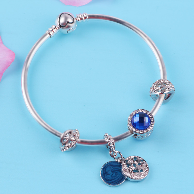 Couqcy Silver Color High Quality Blue Vintage Galaxy Bangle Gift Beads Magnet Clasp Charm Fit Women Bracelet Fashion Jewelry