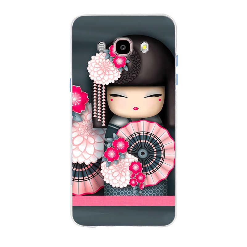 Kawaii японская кукла-кокеши крышка чехол для телефона из мягкого силикона ТПУ с рисунком чехол для телефона для Samsung Galaxy S6 S6edge A7 S7edge S8 S9 плюс A5 J5 J7 2016