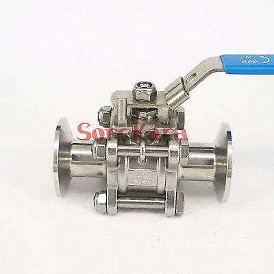 1 SS304 Stainless Steel Sanitary 3 Piece Ball Valve Tri Clamp for Food Industries 3 1 2 ss 304 butterfly valve manual stainless steel butterfly valve sanitary butterfly valve welding butterfly