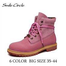 Big Size 34-44 Autumn/Winter boots Women Ankle Boots Genuine Leather Round top Short Boots Women's Martin boots