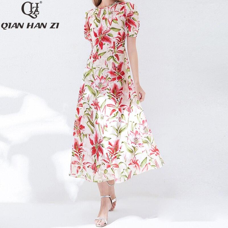 Qian Han Zi 2019 diseñador moda verano Maxi Vestido Mujer manga corta elegante Flor de lirio estampado Jacquard dulce largo vestido-in Vestidos from Ropa de mujer    1