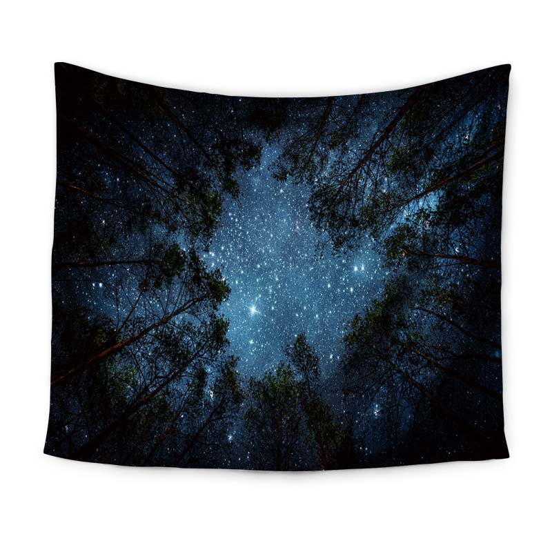 Beautiful Night Sky Wall Tapestry Home Decorations Wall Hanging Forest Starry Night Tapestries For Living Room Bedroom 3