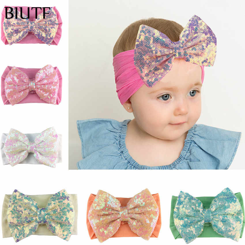 1pcs/lot 5 inch Large Exquisite Sequin Glitter Hair Bow Headband Soft Wide Nylon Elastic Hairband Kids Ear Turban HB087