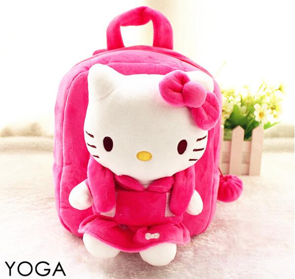 1 PC 25 cm dos desenhos animados olá kitty plush doll mochilas estudantes cute pequeno saco de ombro Satchel presente brinquedo de menina de bebê