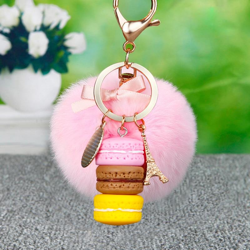 Fashion Mini Three Cake Macaron Keychain Fluffy Rabbit Fur Pom Pom Key Chain Fur Pompon Keyring Car Key Holder Charm Bag Pendant