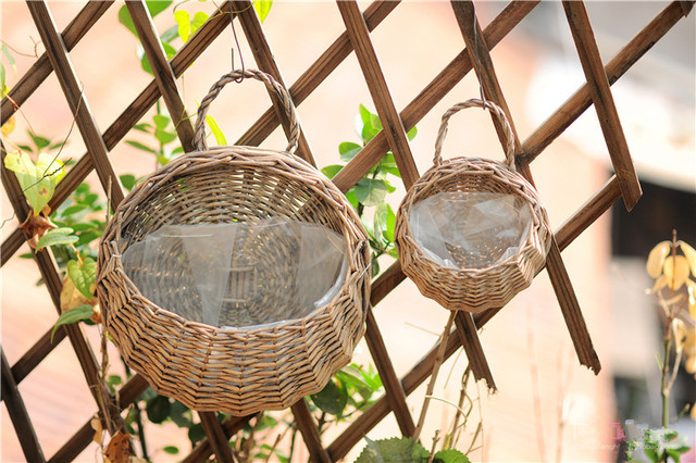 Top Ivy Leaf Garland Plant Hanging baskets,Wicker hand woven Wall  XF82