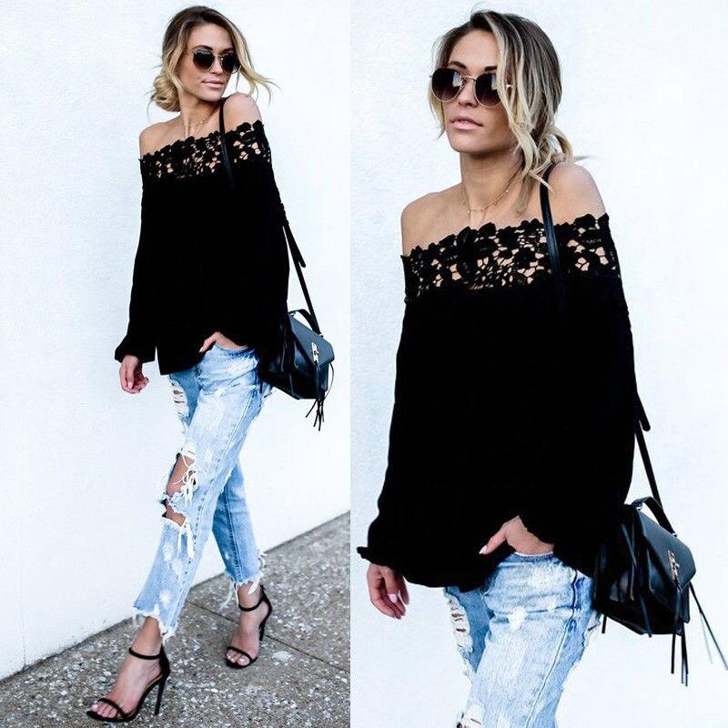 2017 Womens Autumn Summer Color Ruffle Off Shoulder Top Fashion White Blouse Ladies Tops Cute Sweet Shirt
