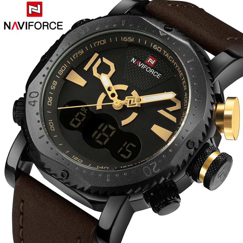 NAVIFORCE Men Sports Watches Luxury Brand Men's Digital Quartz Clock Man Fashion Casual Leather Army Military Wrist Watch 9094 tool case toolbox suitcase impact resistant sealed waterproof abs case 490 333 132mm camera case equipment box with pre cut foam