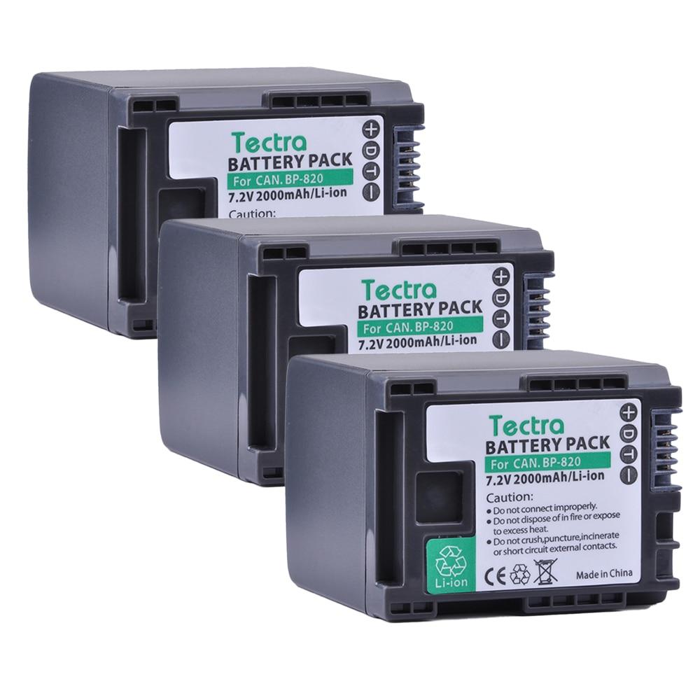 Tectra 3PCS BP-820 BP 820 BP820 Camera Li-ion Battery for Canon XA20 XA25 HFG30 HF HF M30 HF M31 HF M40 bp828 replacement 7 4v 2920mah li ion battery for canon xa25 xa20 hfg30 black