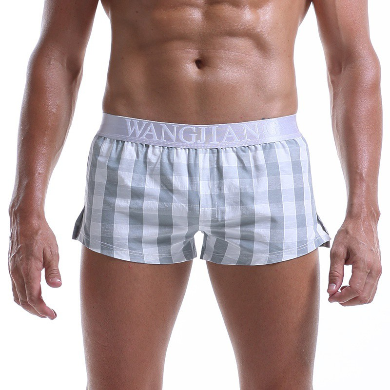 Mens Panties Pouch Boxer-Shorts Homewear Paid Woven Loose Sexy Breathable Cotton New