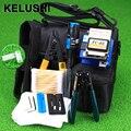 KELUSHI 13 PCS Prático Kit de Ferramentas De Fibra Óptica FTTH com FC-6S FIBER Cleaver e 5 Mw Localizador Visual da Falha da Fibra Óptica Stripper