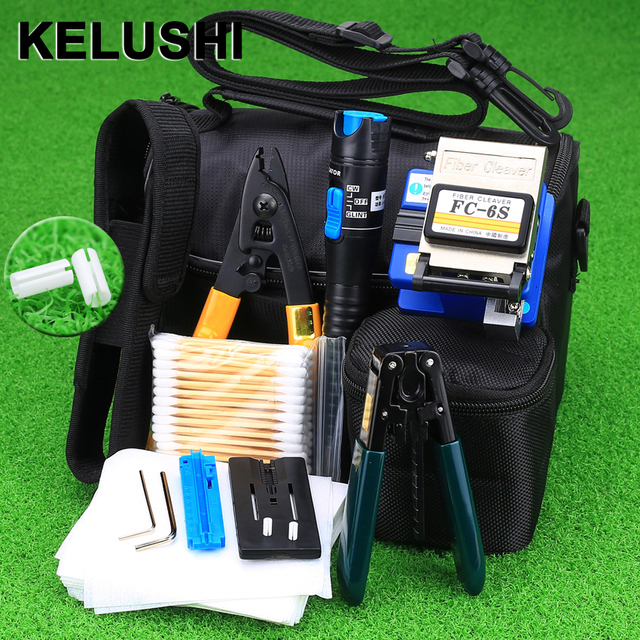 KELUSHI 13 PCS Practical FTTH Fiber Optic Tool Kit with FC-6S Fiber Cleaver and 5Mw Visual Fault Locator Fiber Optic Stripper