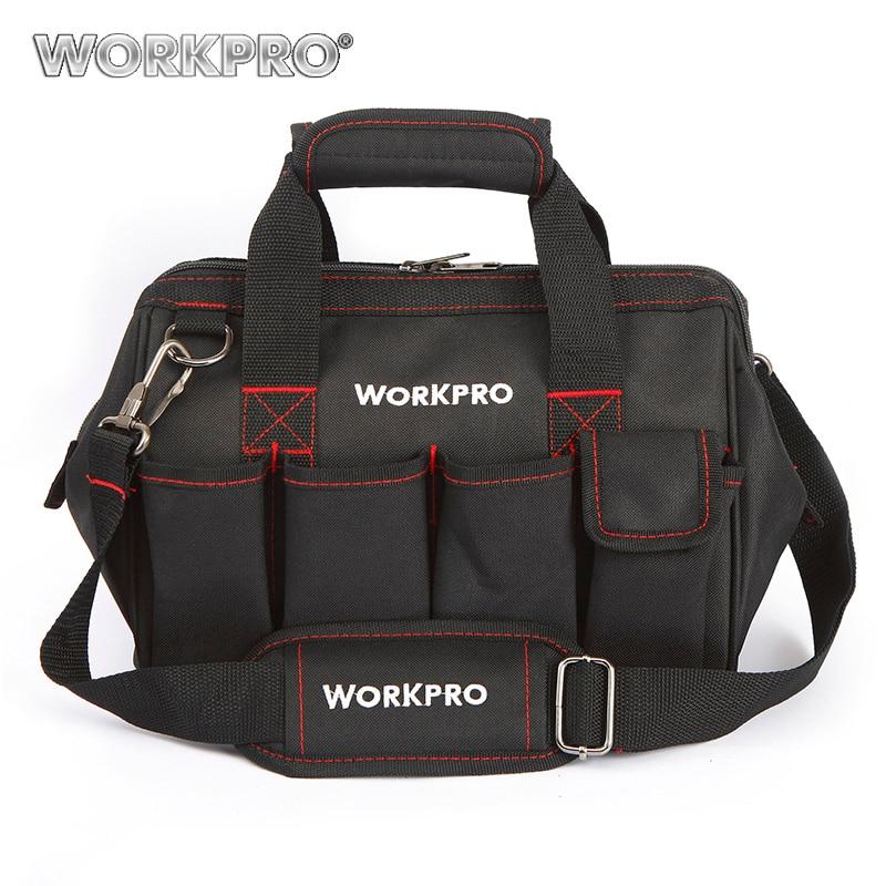 Workpro herramienta bolsas 600D cerrar Top boca ancha bolsas electricista S M l XL para la opción