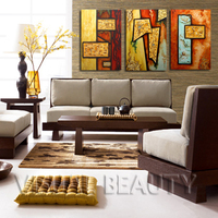 3 Panel Canvas Art Handpaint Abstract Oil Painting Print On Canvas Unframed 40x80cmx3pcs