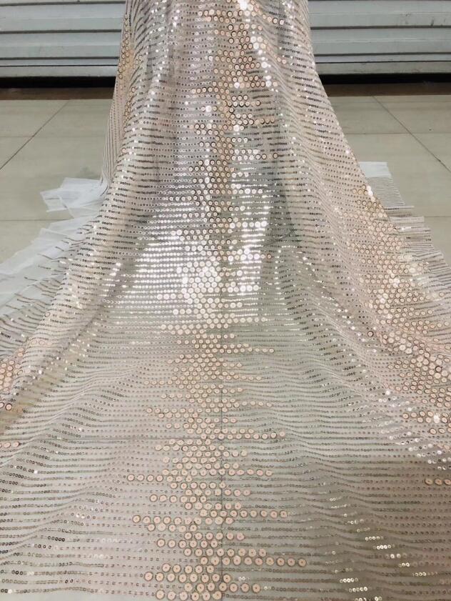 ดูดี sequins สุทธิแอฟริกันปัก tull ลูกไม้ผ้า ZH 122516 สำหรับแฟชั่น-ใน ลูกไม้ จาก บ้านและสวน บน   3